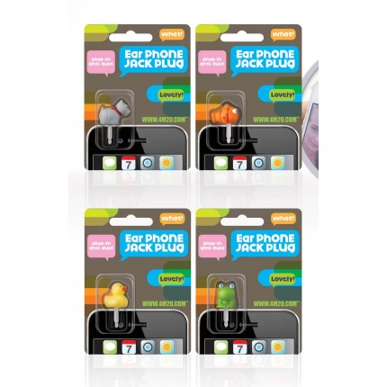 Earphone Jack Plug 4 Pack Assorted Designs