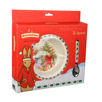 Bunnykins Christmas Bunnies Feeding Bowl and Spoon Set
