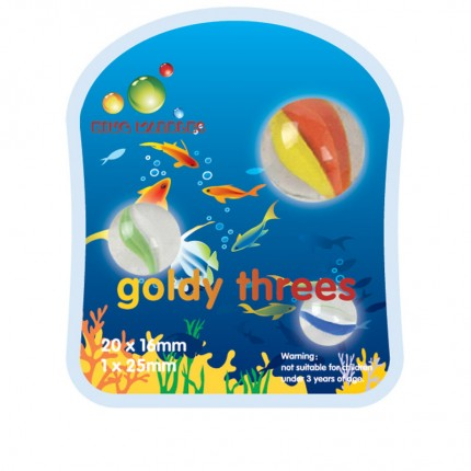 King Marbles Goldy Threes Happy Henry Marbles