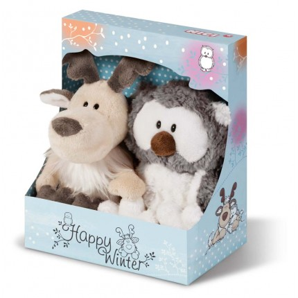 NICI Snowy Owl and Reindeer Gift Set