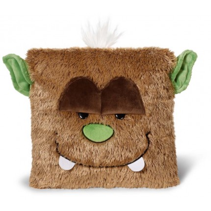"NICI Brown Monster ""Oops"" Square Cushion 35x35cm"