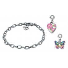 Charm It! Silver Chain Bracelet with Glitter Butterfly and Flower Locket Charms