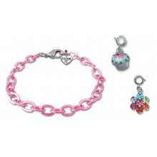 Charm It! Pink Chain Bracelet with Cupcake and Rainbow Daisy Charms