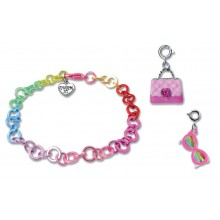 Charm It! Rainbow Chain Bracelet with Sunglasses and Pink Purse Charms