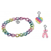 Charm It! Multi Coloured Bracelet with Ballet Slipper and Heart Charms