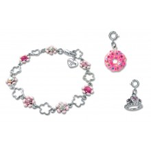 Charm It! Pink Flower Bracelet with Donut and Tiara Charms