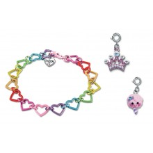 Charm It! Rainbow Heart Bracelet with Princess Crown and Candy Floss Charms