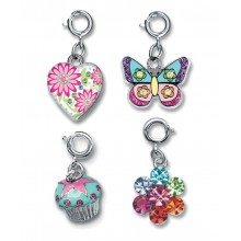Charm It! Cupcake, Glitter Butterfly, Flower Locket and Rainbow Daisy Charm Set