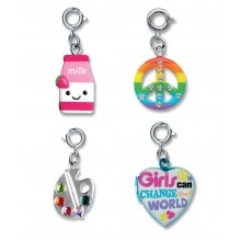 Charm It! Rainbow Peace, Strawberry Milk, Girls and Paint Palette Charm Set