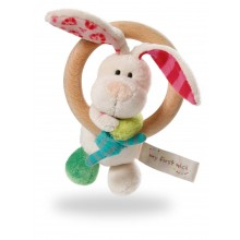 My First NICI Rabbit Tilli Wooden Rattle Ring with Bell