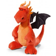NICI Red and Black Dragon Soft Toy sitting 15cm