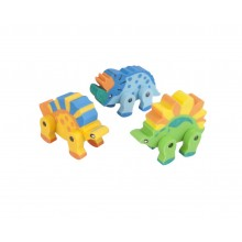 Dinosaur Eraser 3 Pack Assorted Colours