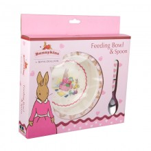Bunnykins Pink Bunnies Feeding Bowl and Spoon Set