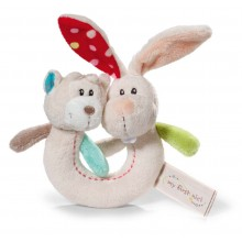 NICI Rabbit and Bear Ring Rattle